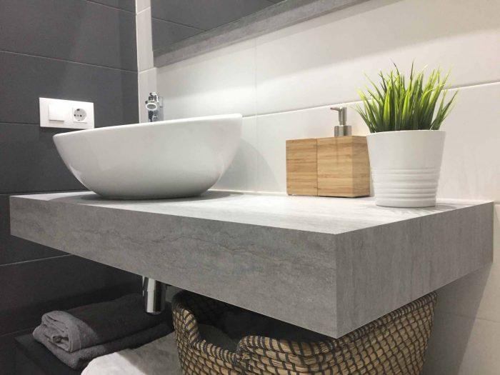 mueble baño encimera ingletada lavabo sobre encimera