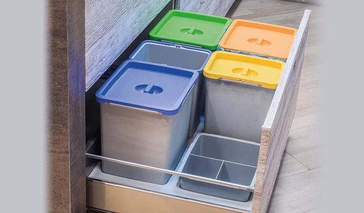 Kit de cubos con tapa manual (50/60/90) para interior de cajón cocina