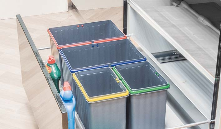 Contenedores con tapa automática (80/90) para interior de cajón de cocina