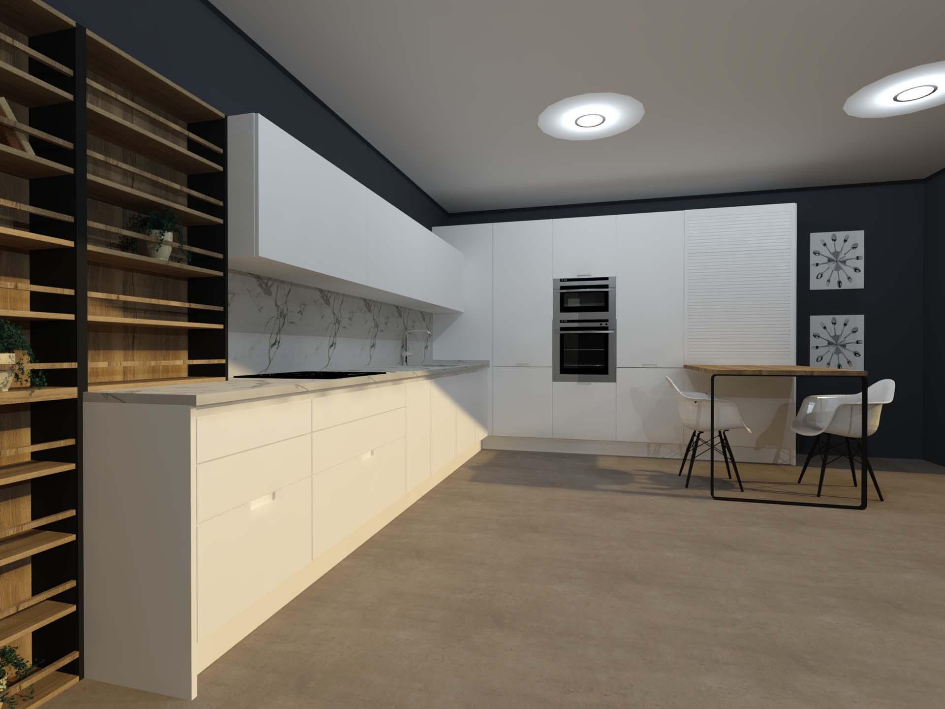 cocina lacada blanco mate con madera