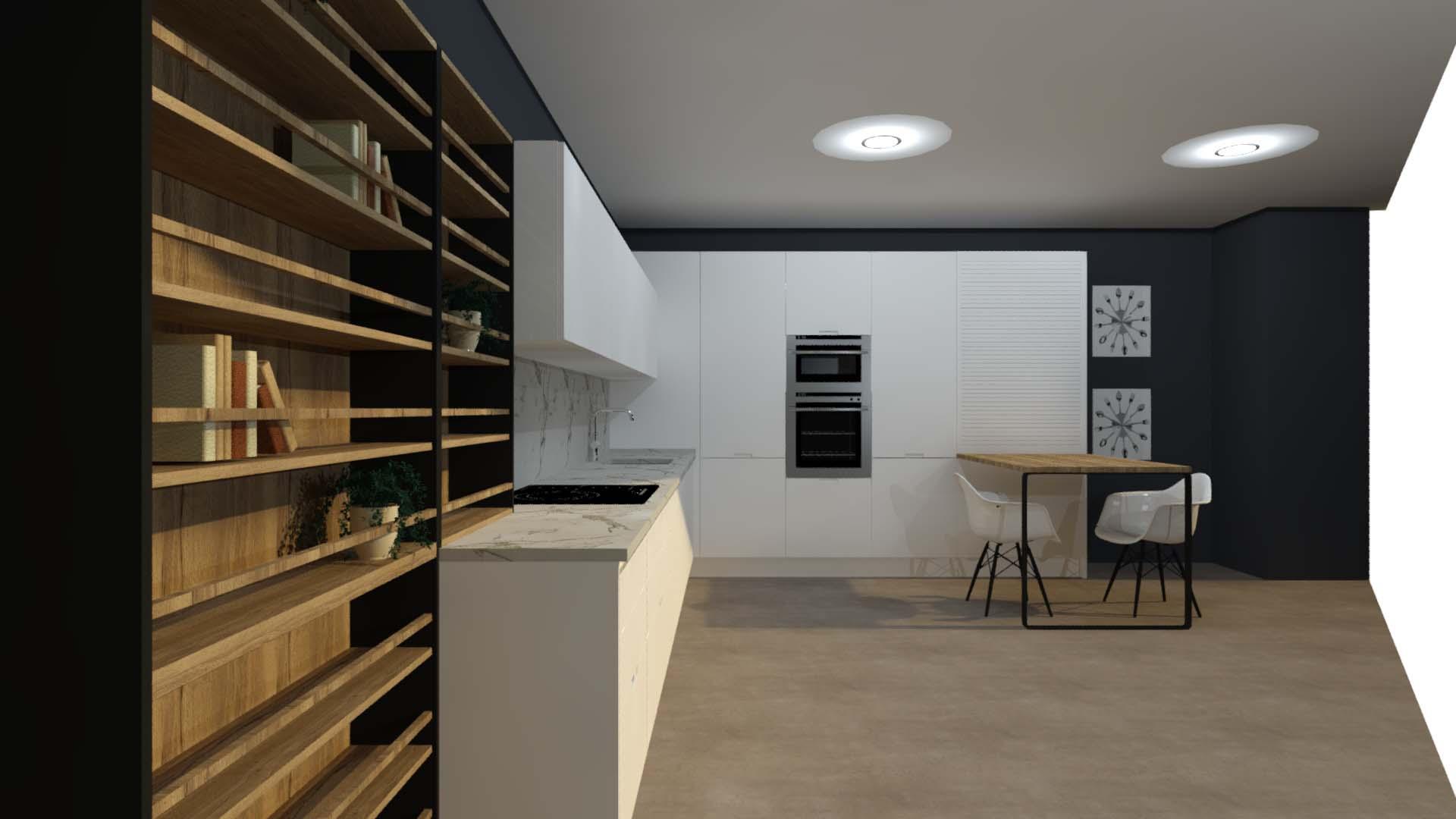 cocina blanca lacada con madera