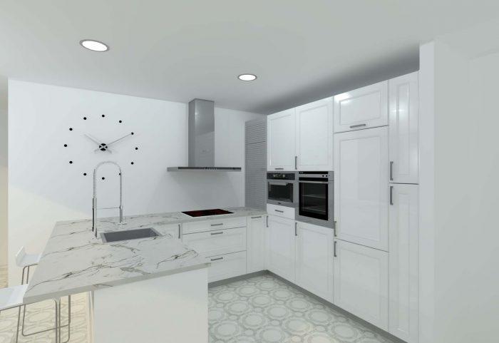 cocina clasica puerta enmarcada blanca