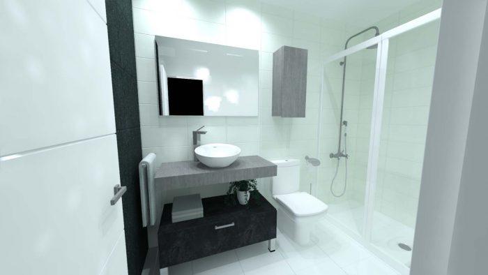 infografia baño lavabo sobre encimera ingletada