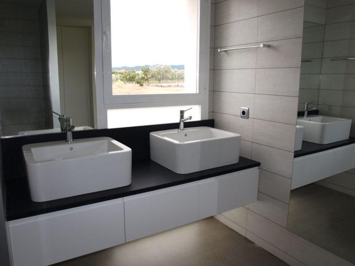 baño lavabos sobre encimera tokio blanco