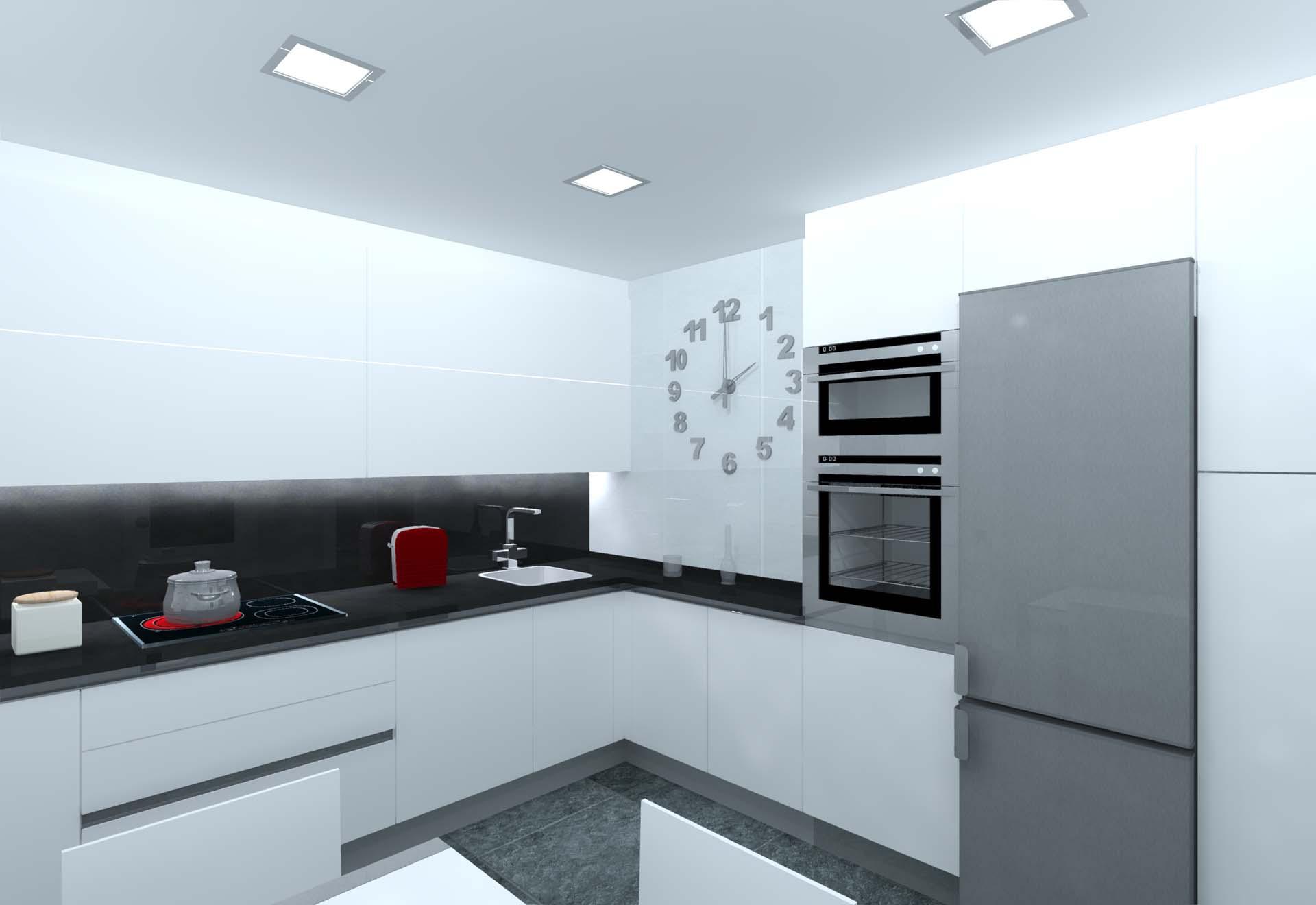 cocina blanco mate gola aluminio