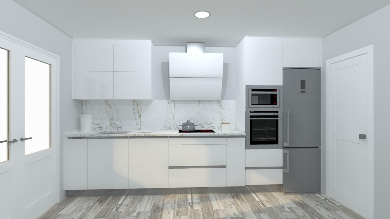 Cocina blanca lacada con isla arnit for Cocinas blancas con isla