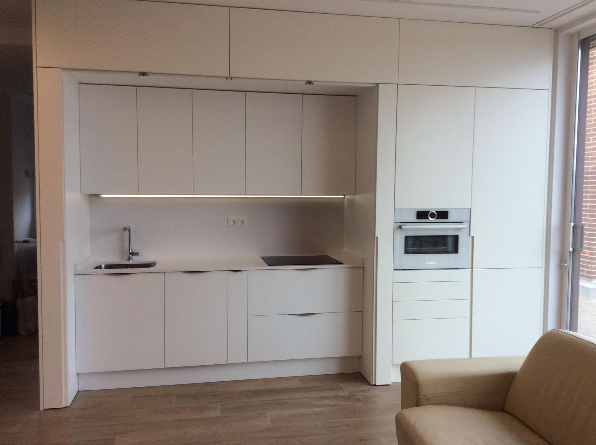 Cocina con puertas de ocultaci n escamoteables abiertas for Puertas para cocina