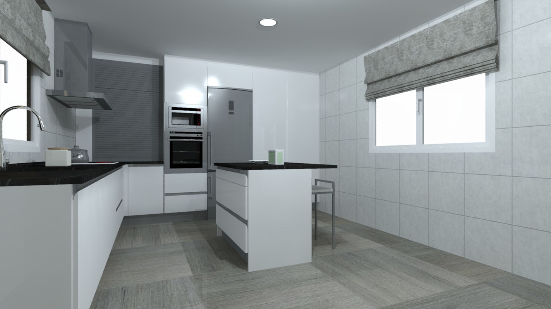 Cocina lacada en blanco con gola arnit for Encimera de cocina lacada en blanco negro