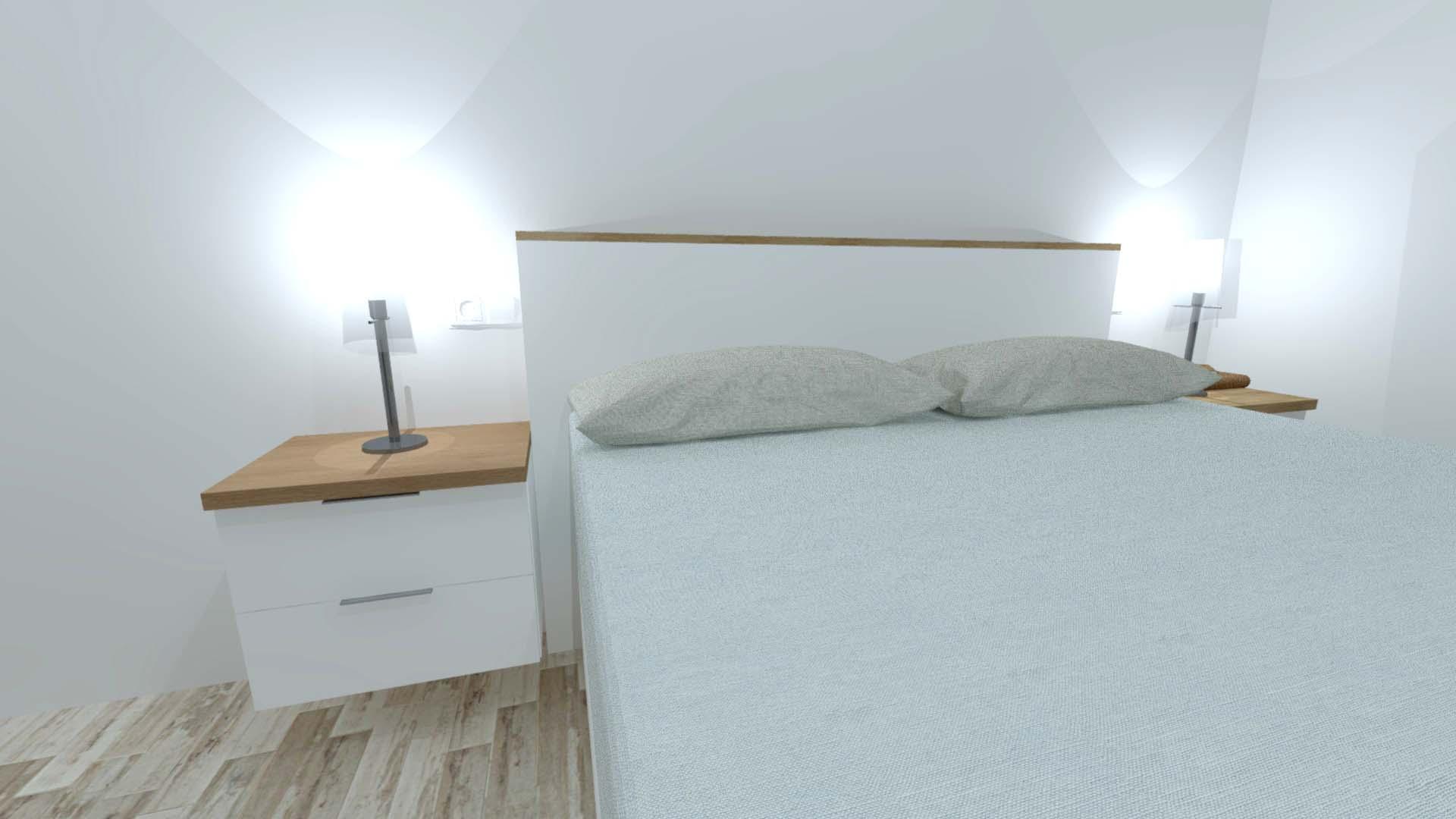 dormitorio cabecero mesilla cama
