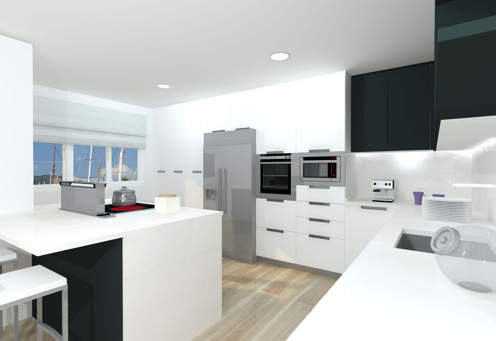 Cocina con isla blanca y antracita con tirador embutido for Cocina de madera antracita