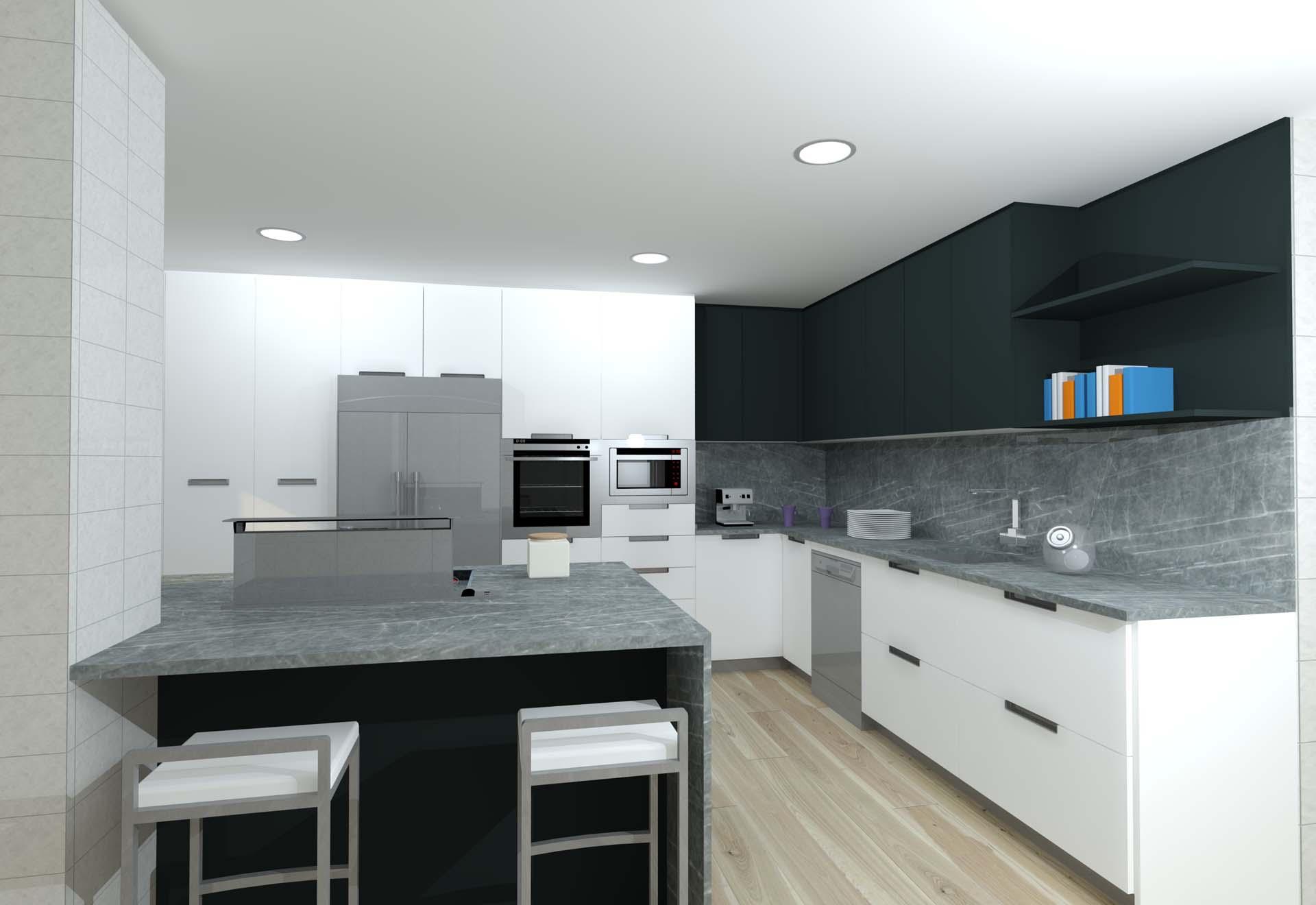 cocina infografia roca blanco antracita